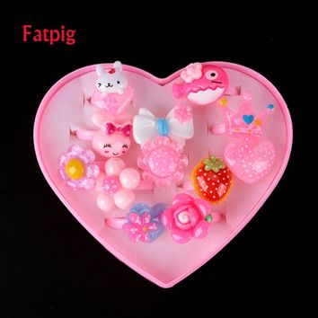 12pcs Children's Cartoon Rings Baby Kids Rings for Girls Flower Cartoon Animal Ring Set Mix Finger Jewery Rings with Display Box