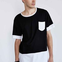 Your Neighbors Long Mesh Colorblock Tee- Black