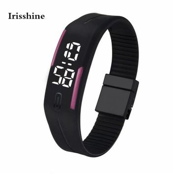 Irisshine #50 unisex couple Watches Mens Womens Rubber LED Watch Date Sports Bracelet Digital Wrist Watch boy girl free shipping