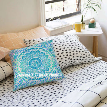 Turquoise  Green Classic Mandala Cotton Throw Pillow Cover on RoyalFurnish.com