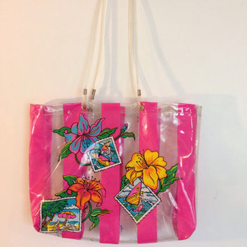 Vintage 90s Plastic Purse Bag Neon Pink Surfer Hawaiian Flower Tropical Striped School Bag Beach Bag