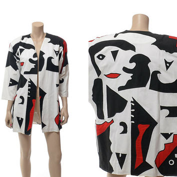 Vintage 80s Abstract Faces Graphic Jacket 1980s Tipicano Mexico Cotton Modern Op Art New Wave Batwing Oversize Jacket