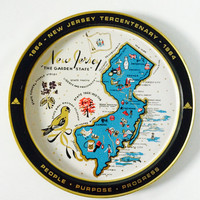 Vintage New Jersey Metal Map Tray