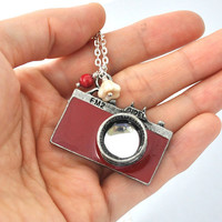 Camera necklace, large pendant necklace, long necklace, large camera, FM2, Capture Life capture moment