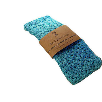 Washcloth, Handmade Crochet Washcloth, Cotton Washcloth Set, Stocking Stuffer, Housewarming Gift, Sea Breeze Blue