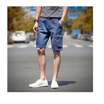 Mens Denim Cargo Shorts