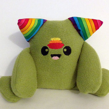 Cute Monster Plush,  Stuffed Toy, Anime Inspired Creature, Kawaii Plushie,  Adorable Monster Plush, Colorful Stuffed Animal, Rainbow, Green