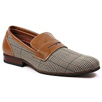 Men's MFA-19371 Slip On Penny Loafers Plaid Design Dress Shoes