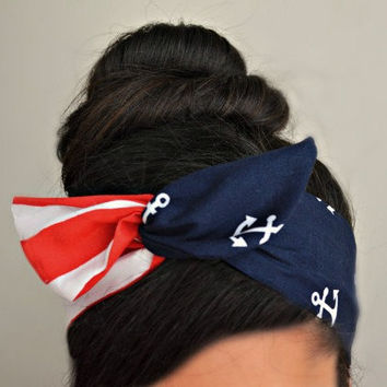 Blue Anchor red stripe Dolly bow Headband, hair bow head band