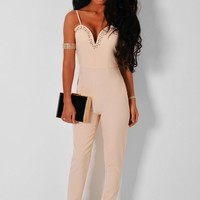 Beaute Nude Sweetheart Embellished Jumpsuit   Pink Boutique