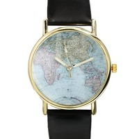 Reclaimed Vintage World Map Black Strap Watch