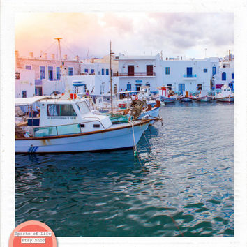 Greece square digital download, travel photography printable, fishing boats in harbor, sea, Greek architecture, wall art home decor, vintage