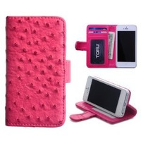 TORU Ostrich ID Credit Card Wallet Case with Stand for iPhone 5 / 5S - Hot Pink