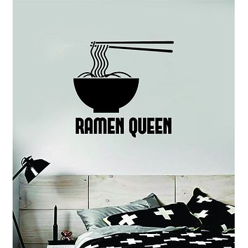 Ramen Queen Decal Sticker Wall Vinyl Art Wall Bedroom Room Home Decor Girls Funny Noodles Teen Food Japanese Spicy