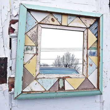 Reclaimed Wood Mirror, yellow, gray Mirror, Framed Mosaic Mirror, Aqua Frame Mirror, Geometric Mosaic Mirror, Bathroom Mirror,Kitchen Mirror