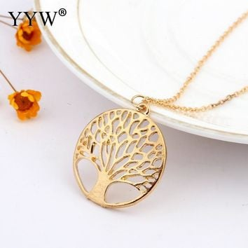 Tree of Life Necklace Women Jewelry Gold-Color Prayer Necklaces Medallion Cion Pendant Free Chain Jewelry Family Gift