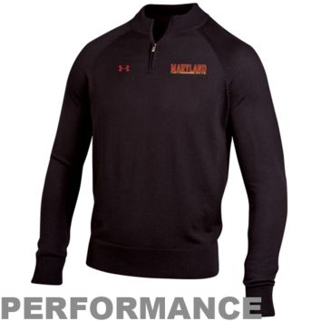 Under Armour Maryland Terrapins Classic AllSeasonGear Quarter Zip Performance Sweatshirt - Black