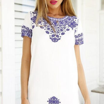 Blue and White Printing Round Neck Fashion Dress