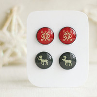 Winter Posts, Deer Posts, Snowflakes Posts, Winter Stud Earrings, Red and Gray Studs, Two Pairs