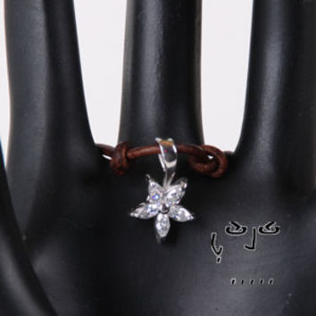 Cubic Zirconia and Sterling Silver Star Flower Pendant