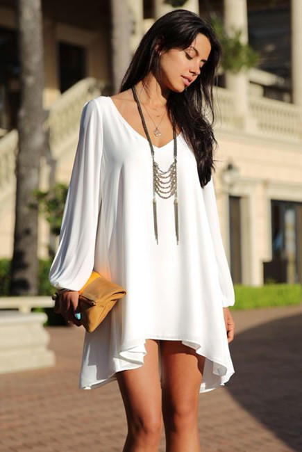 White Loose Fitting Mini Chiffon Dress From Shop Vivan