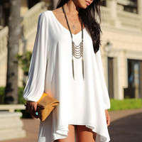 White Loose Fitting Mini Chiffon Dress with Sleeves Slit