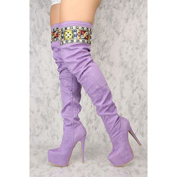 Top Show Lilac Purple Embroidered Top Thigh Boots High Heels