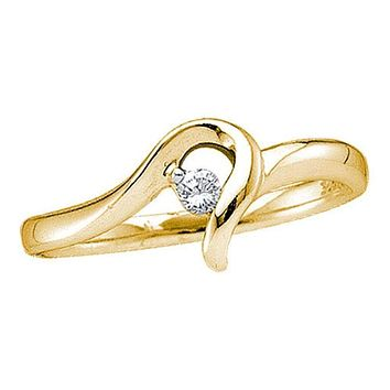 10kt Yellow Gold Women's Round Diamond Solitaire Promise Bridal Ring 1/20 Cttw - FREE Shipping (US/CAN)