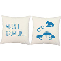 Set of 2 Policeman Pillows - Kid's Police Print Pillow Covers  and or Cushion Inserts - When I Grow Up, Cops and Robbers, Kid's Room Decor