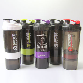 Protein Shaker Blender Mixer Cup Sports Fitness gym 3 Layers Multifunction 600ml BPA  Free Plastic Water Bottle  500ML