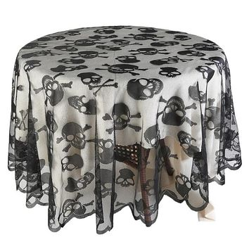 Skull Pattern Round or Square Lace Tablecloth Decoration
