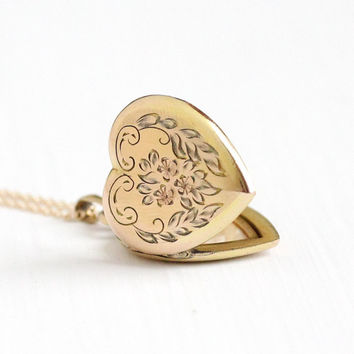 Vintage 12k Gold Filled Flower Heart Locket Necklace - Late Art Deco 1940s Sweetheart Pendant Romantic Floral Etched Sturdy Jewelry
