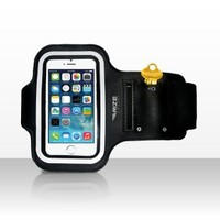 Brilliant sports arm band for iPhone 5/5C/5S and iPod Touch 5th Gen Deep Black with reflective stripe.   ★ BONUS ITEM Quality Ear-buds with Volume Control and Microphone ★  Rize online armbands are tailored for Running, Jogging, Exercise or the Gym - Unise