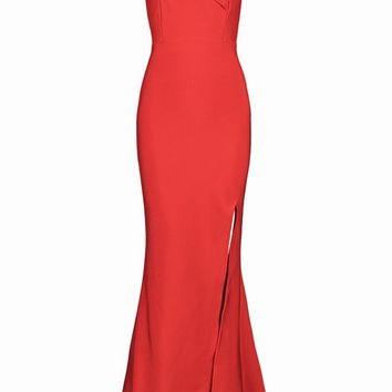 Honey Couture CHARLEY Red Off Shoulder Side Split Maxi Bandage Dress