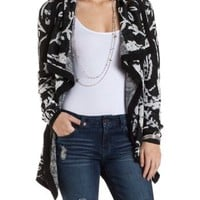 Patterned Cascade Cardigan Sweater by Charlotte Russe - Black Combo