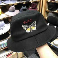 """Gucci"" Fashion Letter Butterfly Embroidery Bucket Hat Fisherman Cap Women Casual Sun Hat"