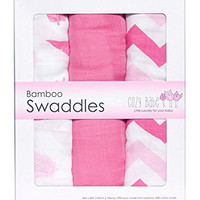Bamboo Muslin Swaddles - 3 Pack - Softest Muslin Swaddle Blankets - Pink - Swaddle Blanket