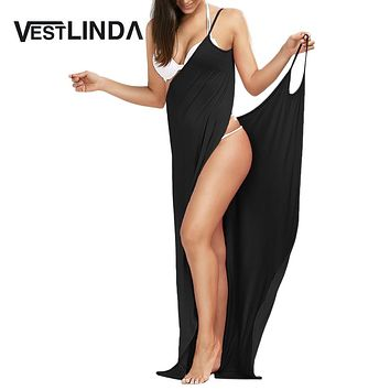 VESTLINDA Beach Dress Boho Tunic Robe Women Wrap Slip Backless Sexy Party Long Maxi Dresses Vestidos Summer Dress  Beachwear