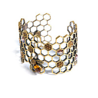 Honeycomb-bee topaz cuff | Alexander McQueen | MATCHESFASHION.COM
