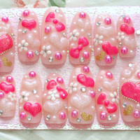 Kawaii nails, Gyaru, 3D nails, deco nails, long, pink, hearts, bows, flowers, gems, blingy, Japanese nail art