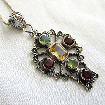 Vintage 925 Sterling Silver Stylized Cross Pendant Necklace with Channel Set Garnet, Peridot & Golden Topaz Rhinestones