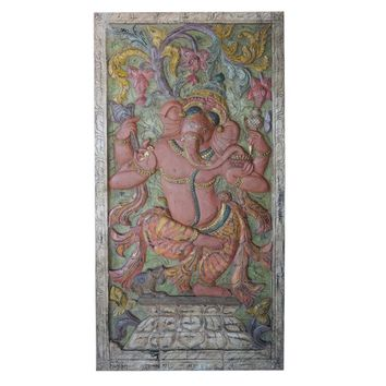 Vintage Indian Door Hand Carved Ganesha Dancing Wall Relief Panel Sculpture