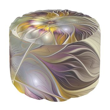 Abstract Colorful Fantasy Flower Modern Fractal Pouf