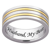 Men's Engraved 7.0mm Stainless Steel and 18K Gold Stripe Band (25 Characters)