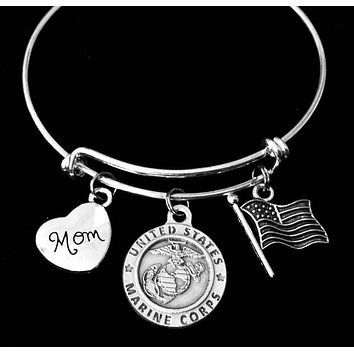 Marine Mom Jewelry Expandable Charm Bracelet Silver Adjustable Bangle One Size Fits All Gift USA Military USMC Marines