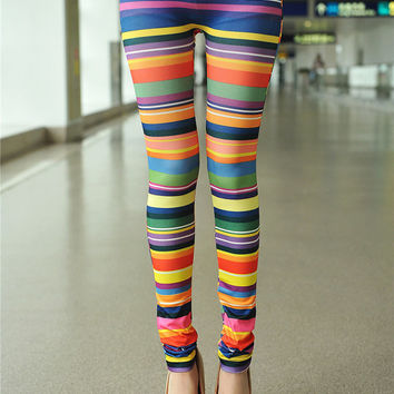 New Fashion Colored Stripes Printed Legging Skinny Tights Sexy Tattoo Slim Pant