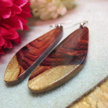 Rare and Unusual Earrings Khamphi Rosewood Exotic Wood shiny antique copper ear wires Handmade Ecofriendly repurposed.