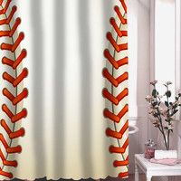 Baseball Texture Ball shower curtain adorabel batheroom hane made.