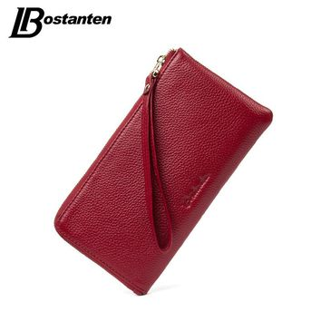 BOSTANTEN Genuine Leather Women Wallets Designer Long Fashion Lady Purse Card Holder Phone Coin Pocket Female Clutch Wristlet