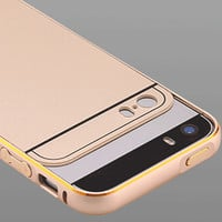 With LOGO Case For iphone 5 5S SE Metal Aluminum +Acrylic Phone Accessories Ultra Full Front Back Cover for Apple iphone 5 5S SE